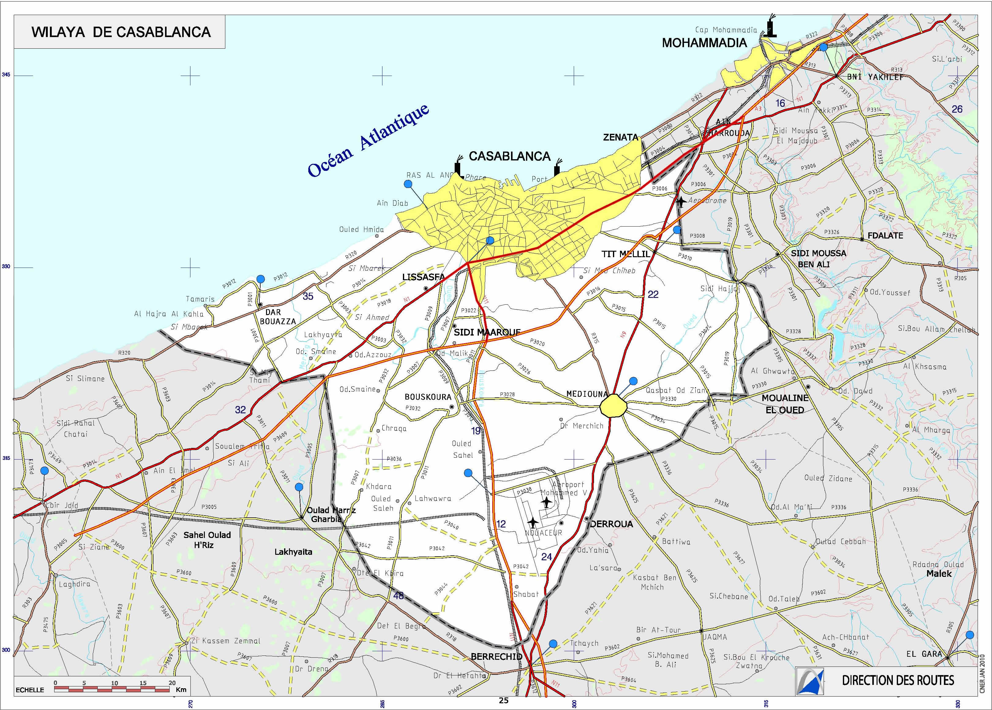 Carte Casablanca Carte routire casablanca