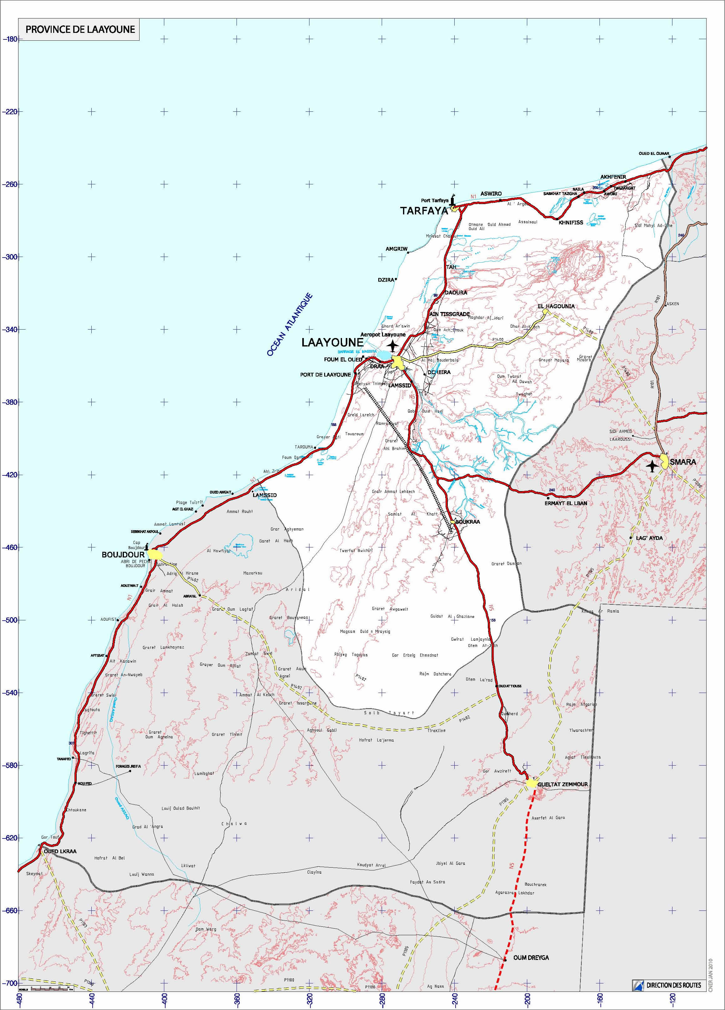 Carte Layoune Carte routire laayoune