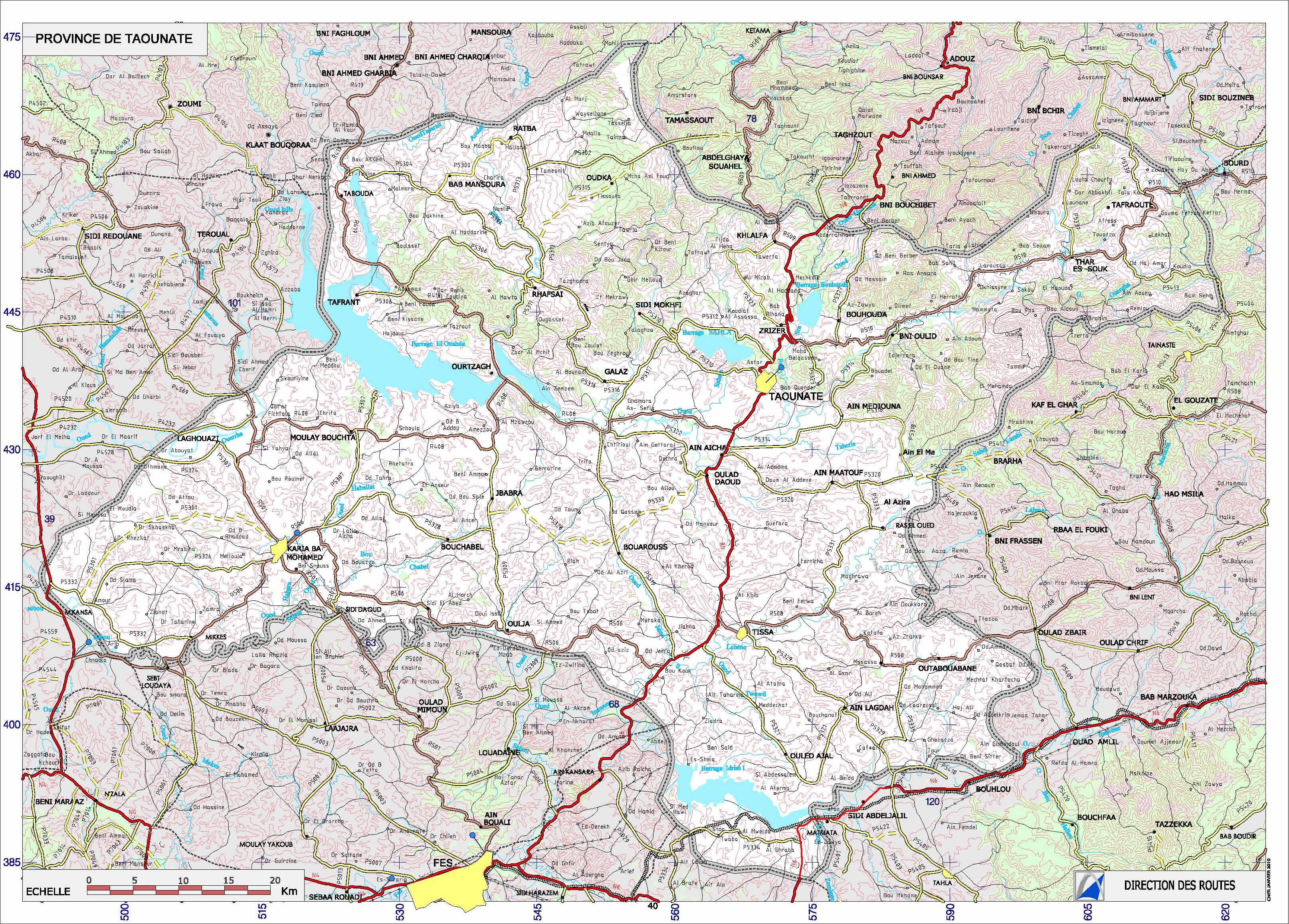 Carte Taounate, Carte routière taounate
